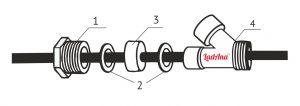 connection set scheme 1 300x106 - Тройник с сальником (комплект) для монтажа греющего кабеля внутрь трубы т.м. «LadAna»